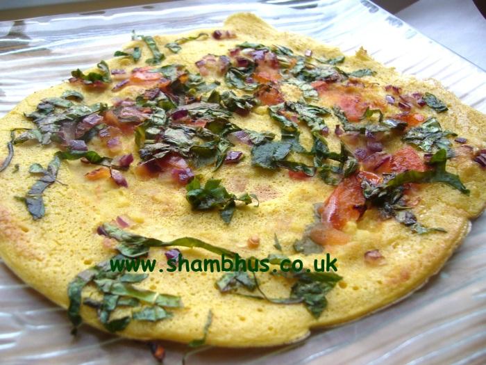 Shambhu's gram flour savoury pancake P1090344 - watermarked