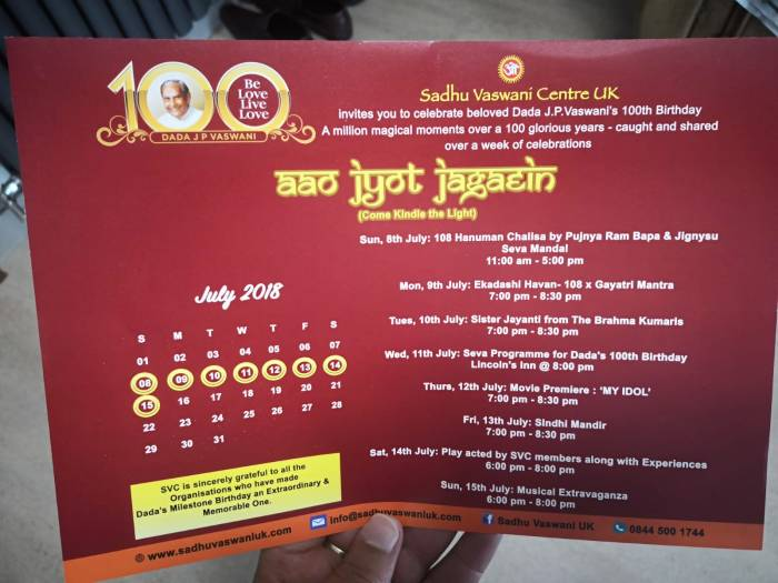Sadhu V 100th Birthday Invite